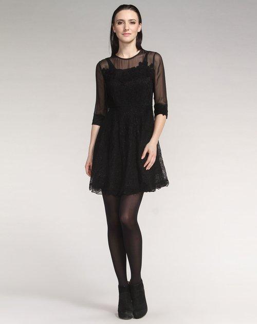 艾罗莃alcee女装专场高贵性感黑色绣花中袖连衣裙