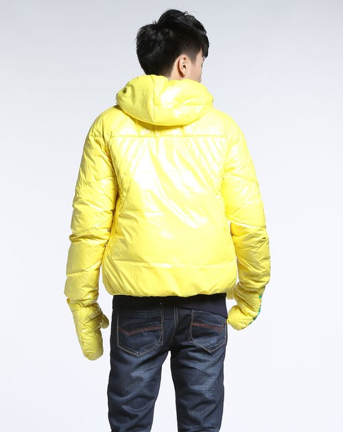 森马男装专场亮黄色连帽长袖羽绒服图片