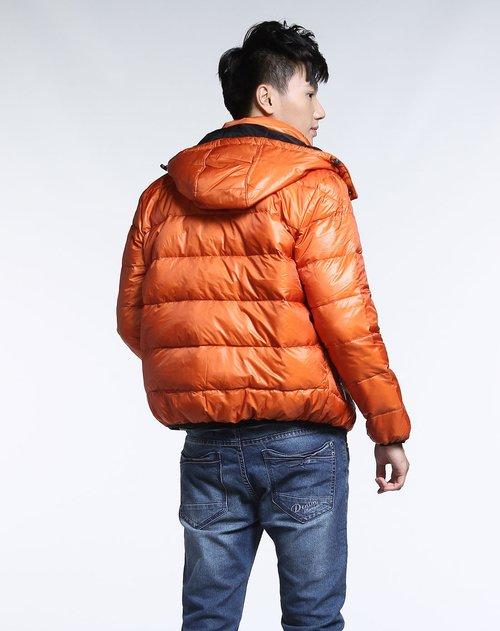 森马男装专场时尚橙红色连帽休闲长袖羽绒服图片