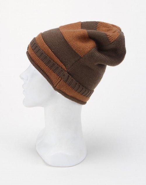 男童咖啡色拼色间条毛线帽子