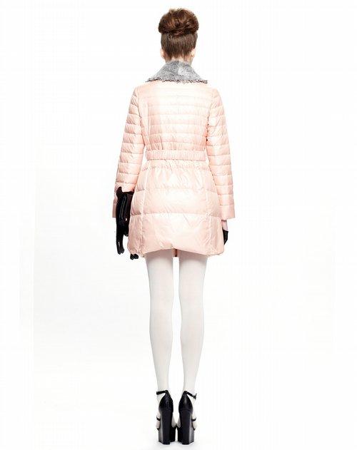 just mode女装专场粉红中长款羽绒衣