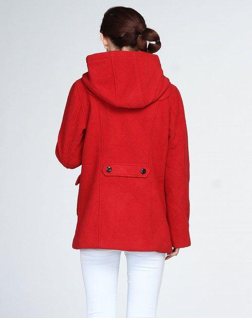 深红色时尚连帽长袖外套