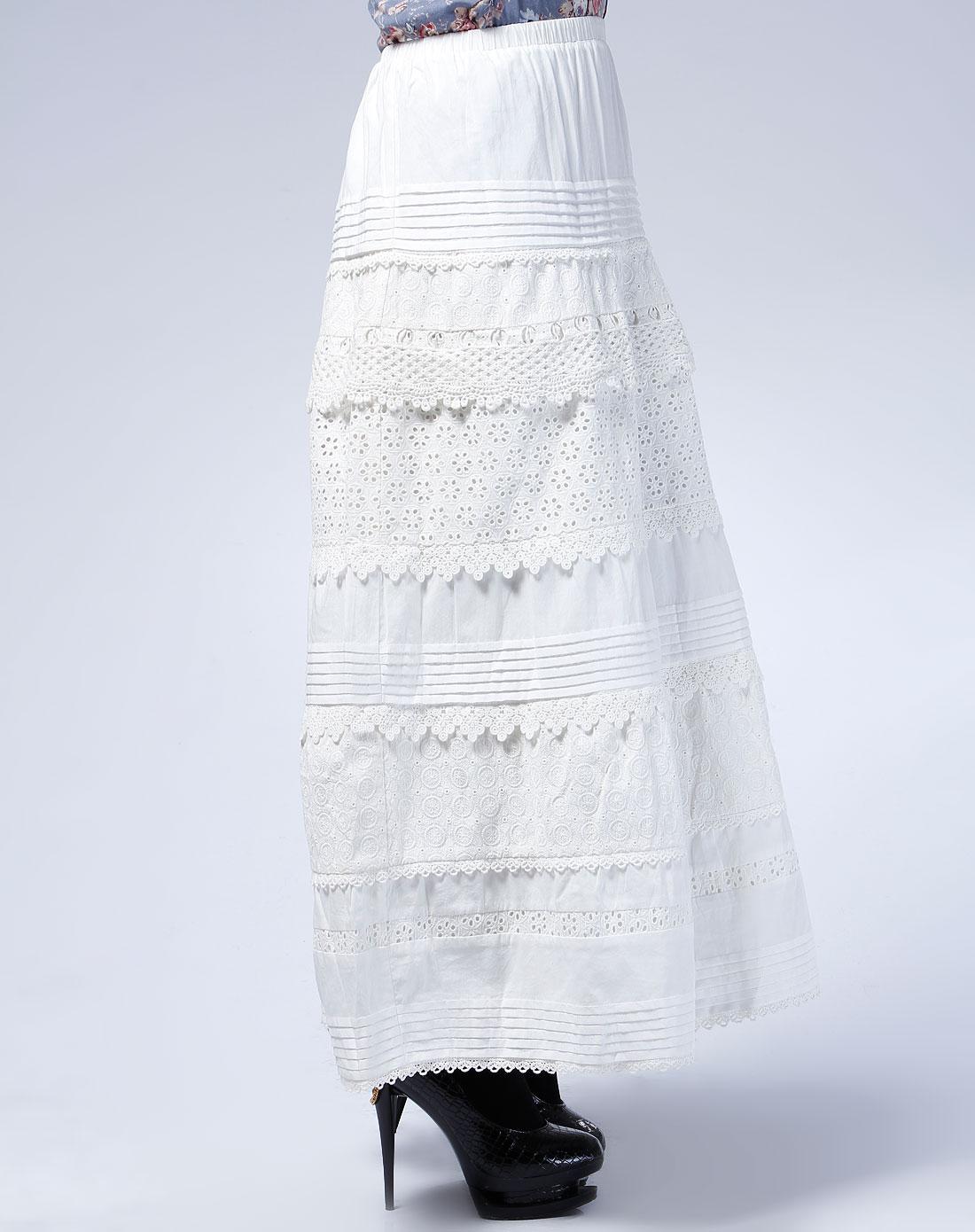 欧时力ochirly米白色花边时尚长裙1106073830010