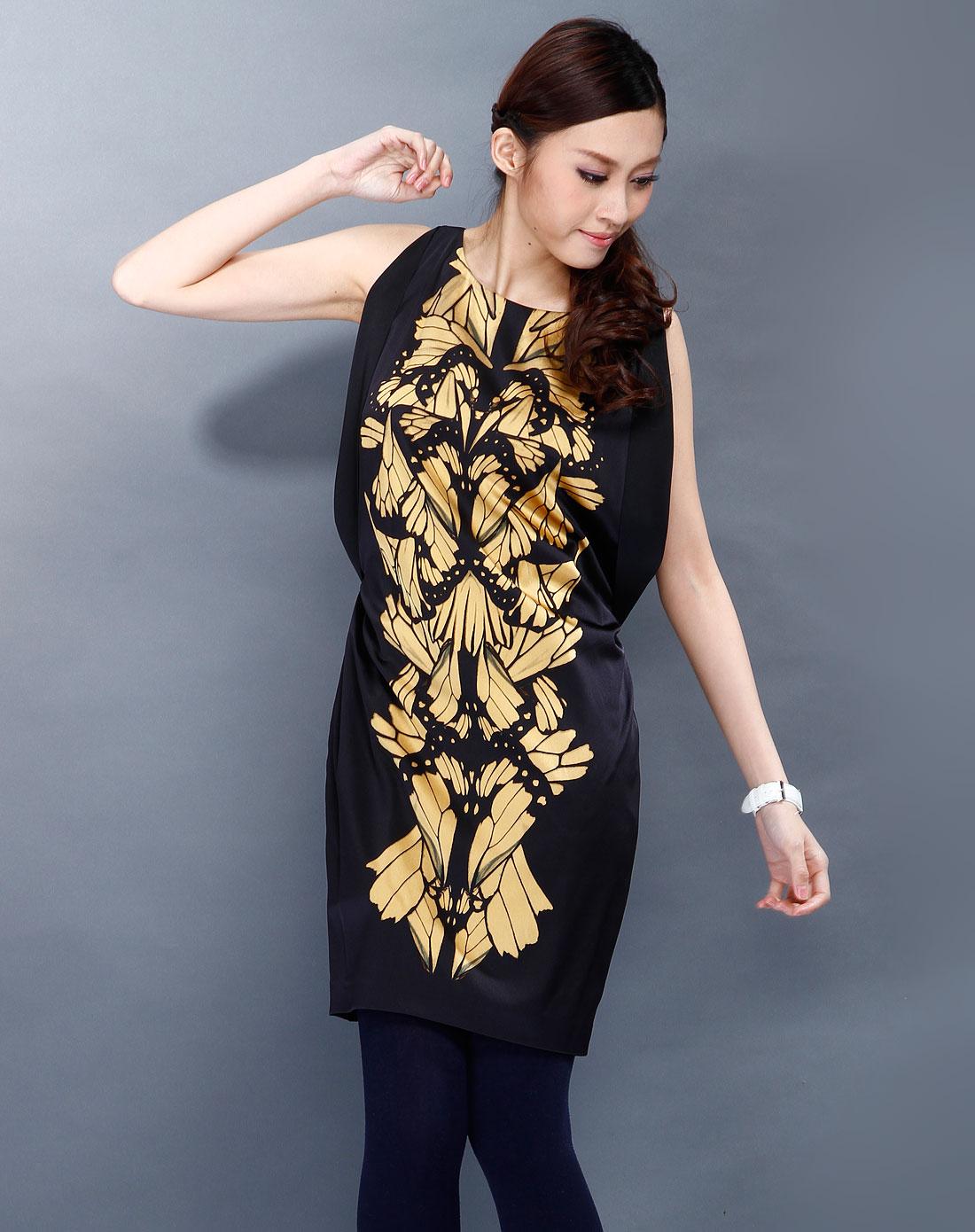 卓可 黑色花纹时尚长袖连衣裙
