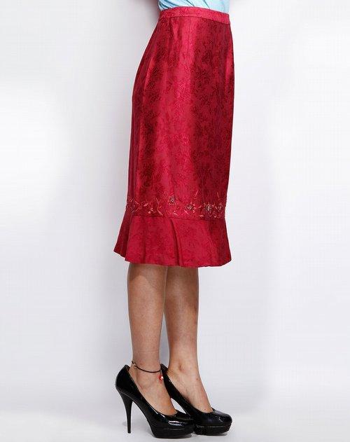 龙笛londee玫红色时尚印花长裙