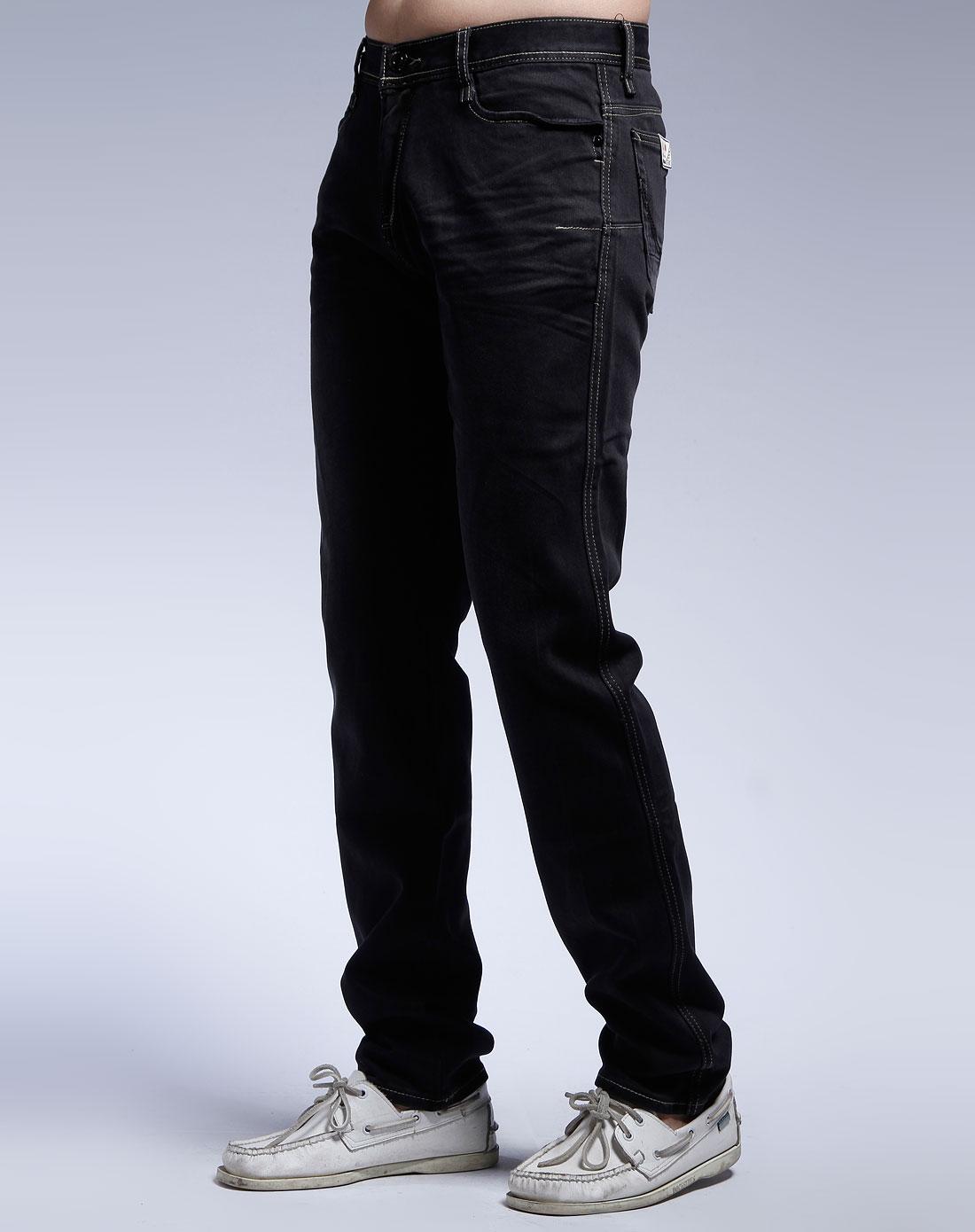 黑色时尚牛仔长裤_马克华菲男装专场特价