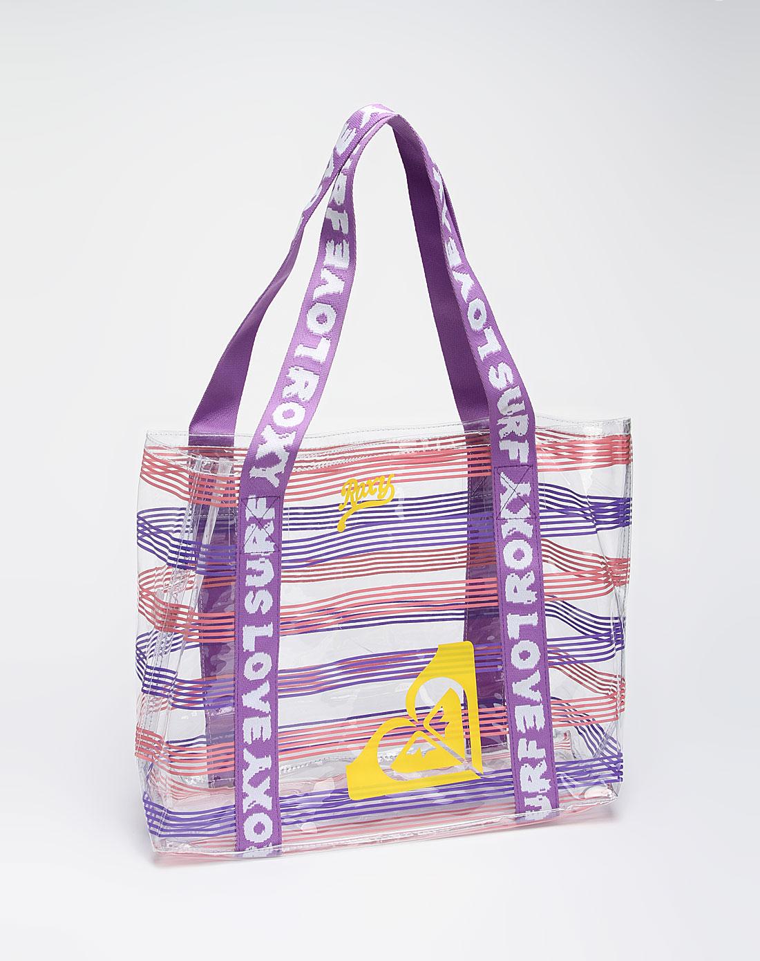 roxy女款紫色条纹透明单肩包