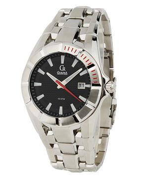 手表专场garona男款银/黑色暗格纹圆表盘手表