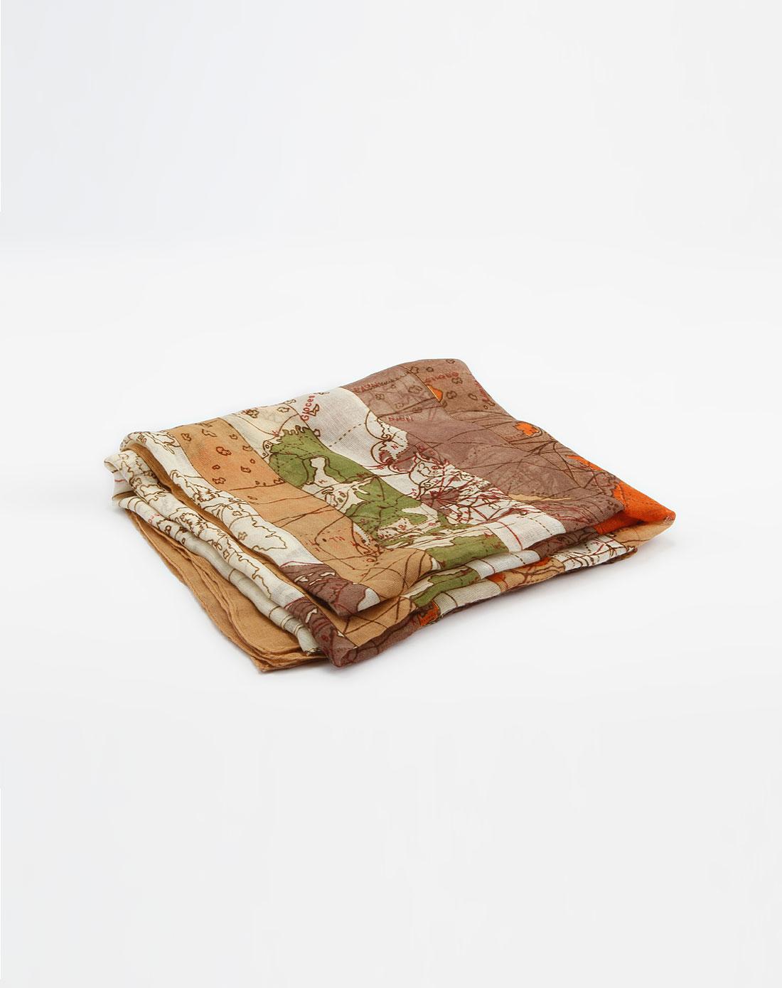 [ popova ] 杏色底彩色图纹棉麻巾