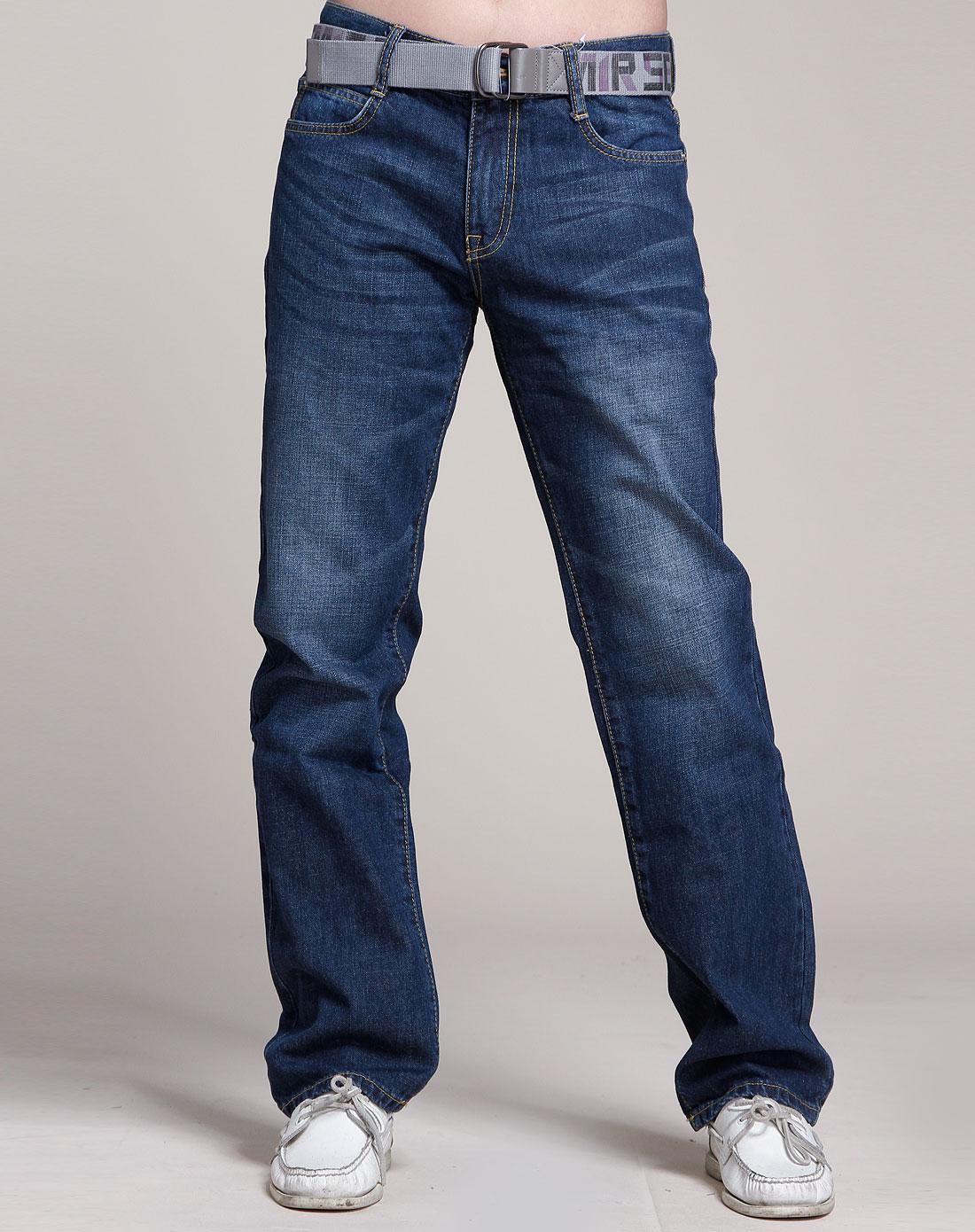 森马-男装深蓝色牛仔长裤1图片