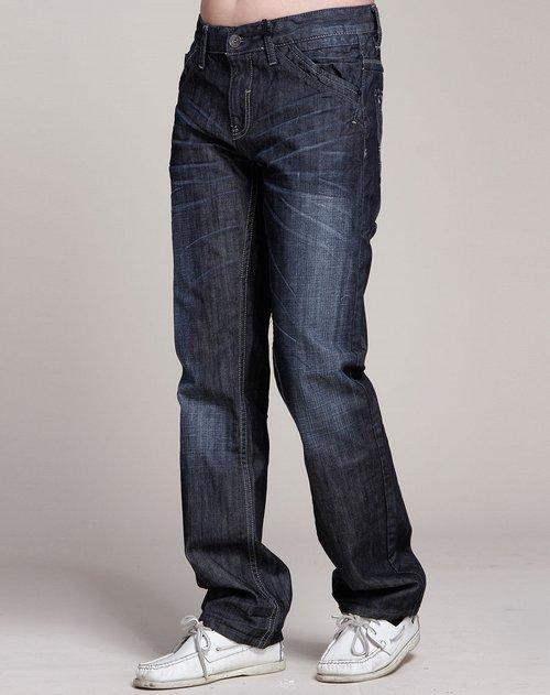 森马-男装灰黑色牛仔长裤图片