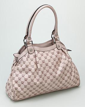 森达senda女款浅粉色pu手提包