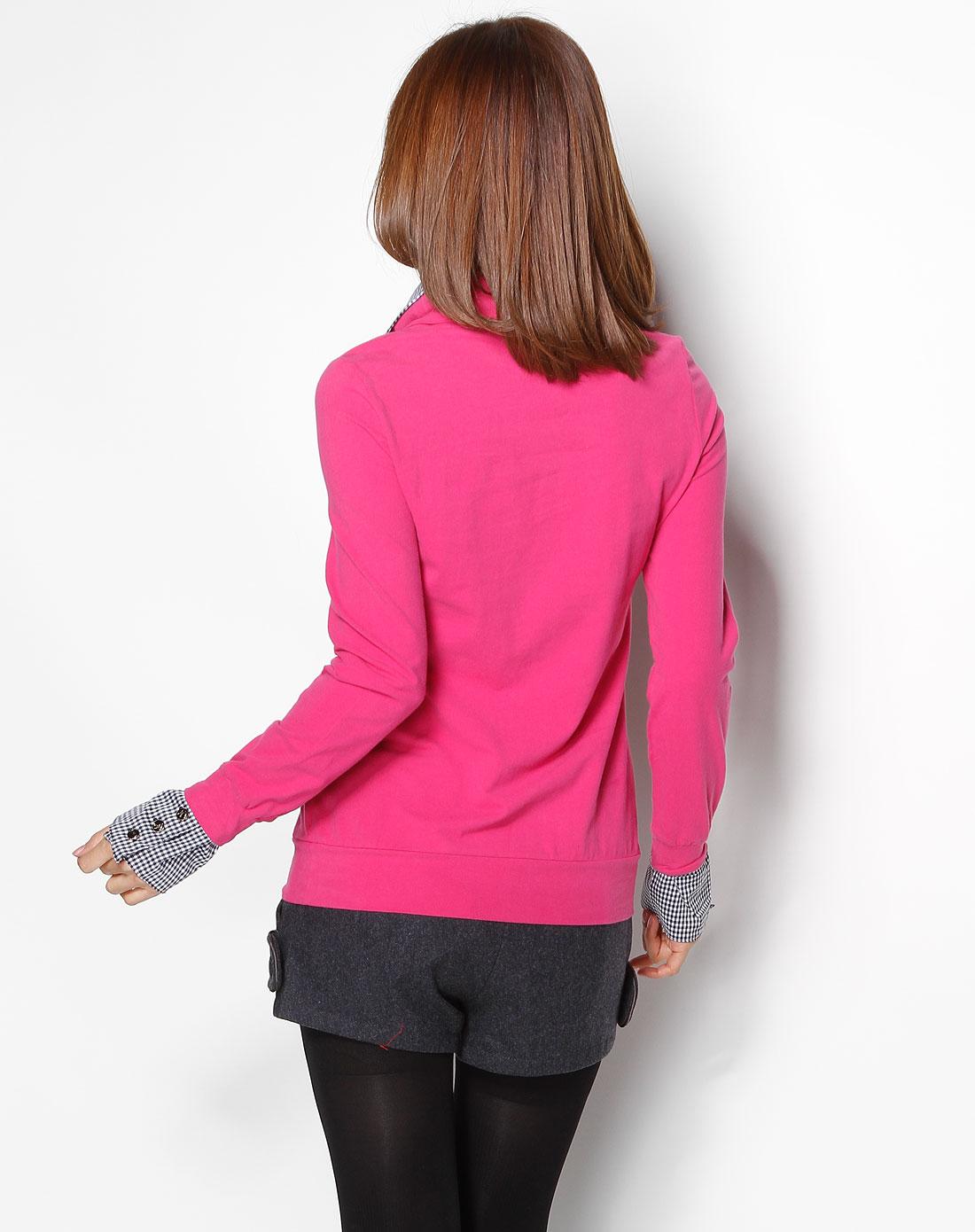 r&d玫红色珠片图案长袖针织衫6104707162423