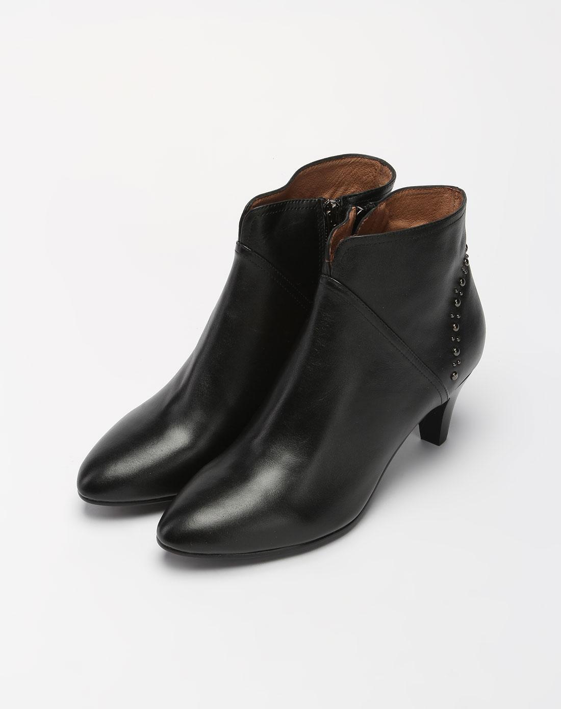 哈森harson女鞋专场-女款黑色简约高跟短靴图片