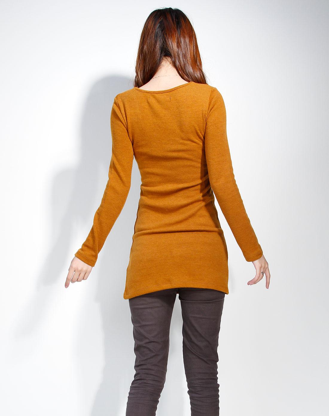 女款 土黄色 长袖长款毛衣