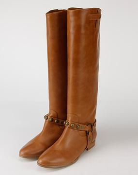 eq:iq女款棕色牛皮钢珠高筒平底长靴