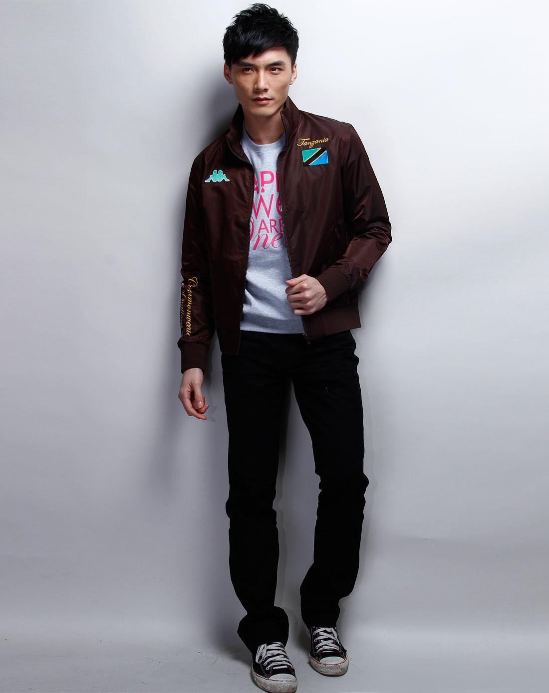 卡帕kappa男装专场-深棕色时尚长袖夹克