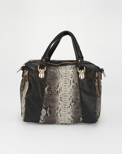 依娜女款白/黑色蛇纹手提包