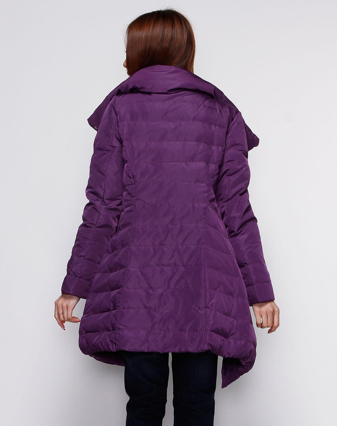 深女童紫色短裙羽绒服时尚韩版v女童长袖图片
