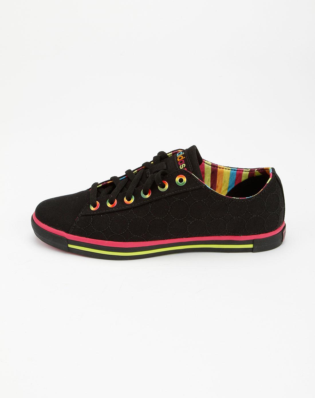 阿迪达斯adidasneo 女款黑色圆圈休闲帆布鞋g31525