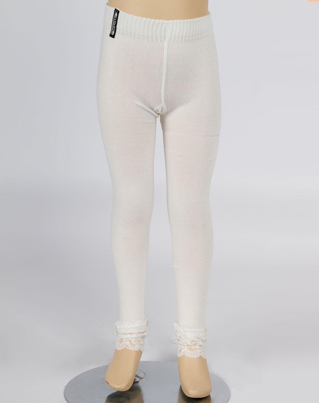 时尚小鱼女童白色镶花边裤袜