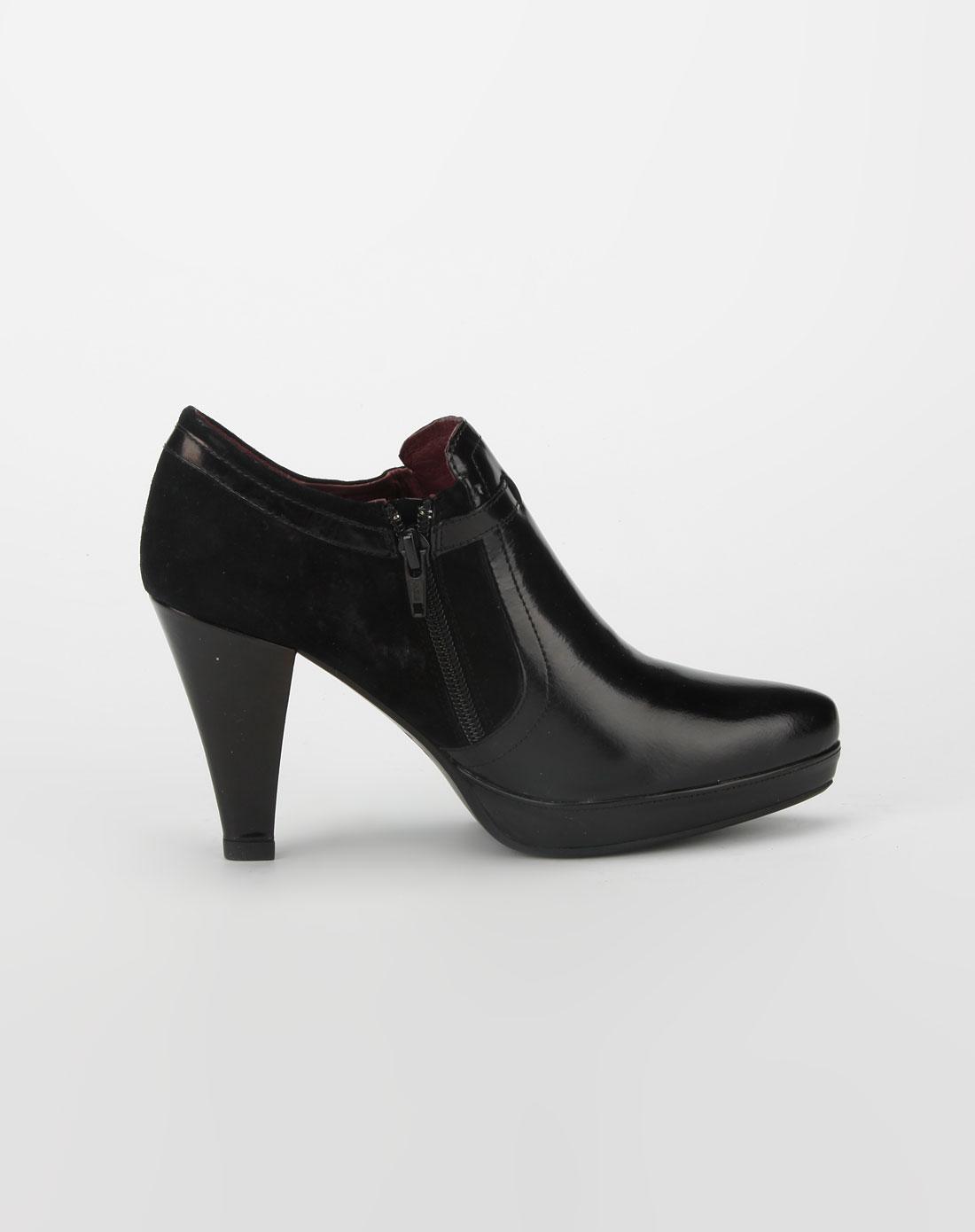 elle 黑色拉链高跟皮鞋