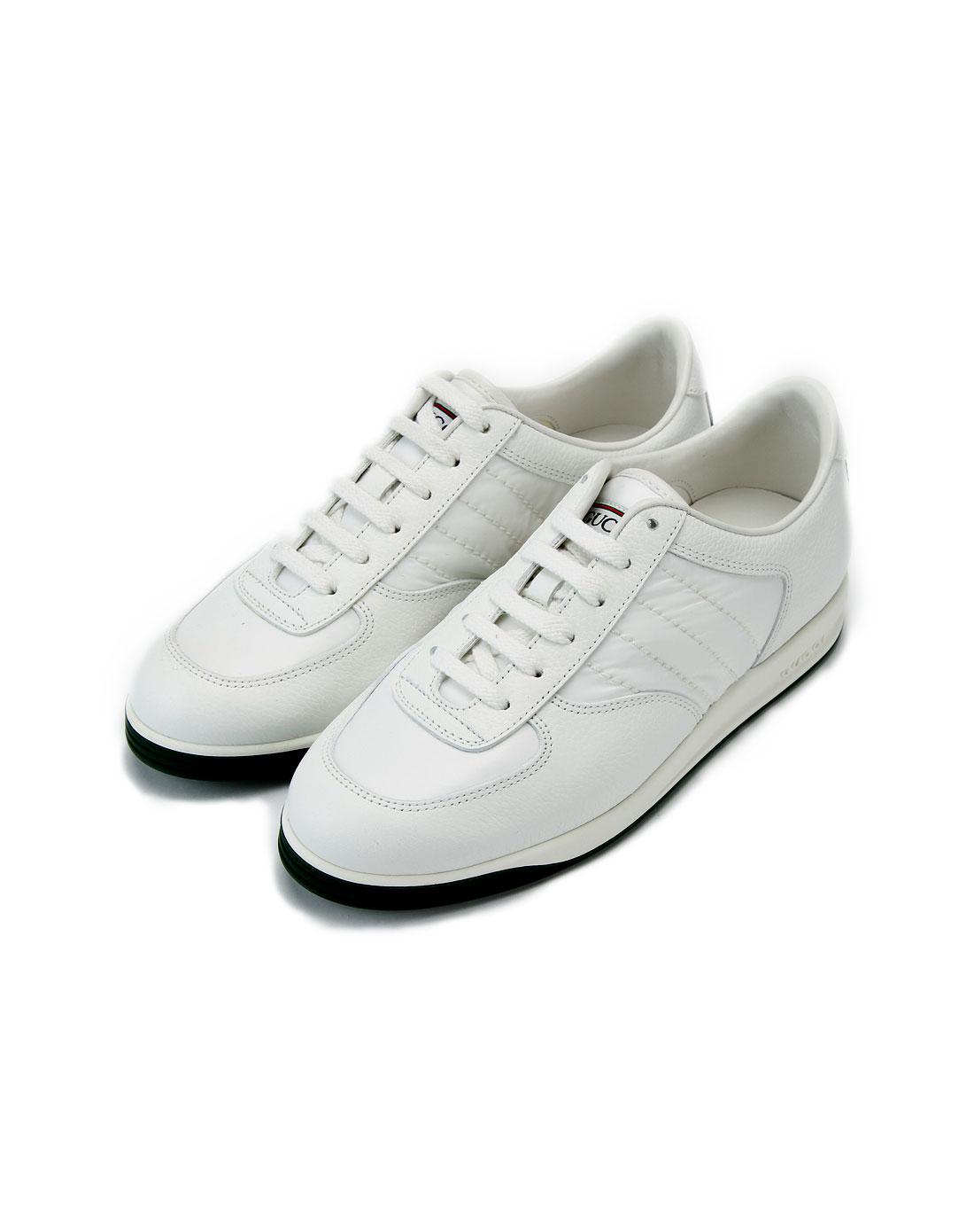 gucci鞋子专场女款纯白色绑带板鞋