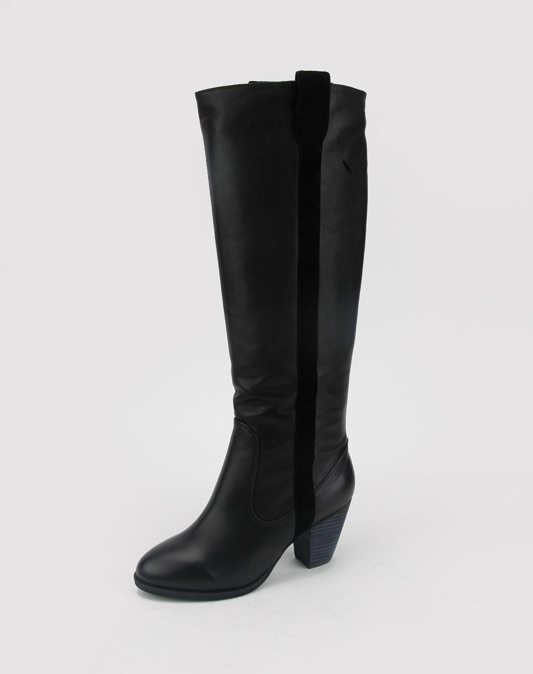 女款黑色腊牛皮/黑色京皮靴