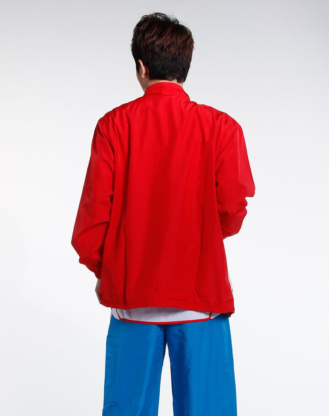 男款朱红色长袖运动休闲
