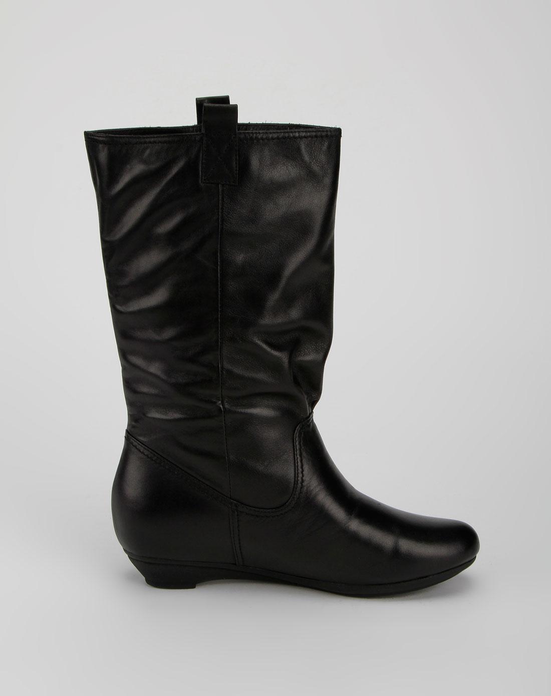 森达senda女款黑色中筒牛皮靴