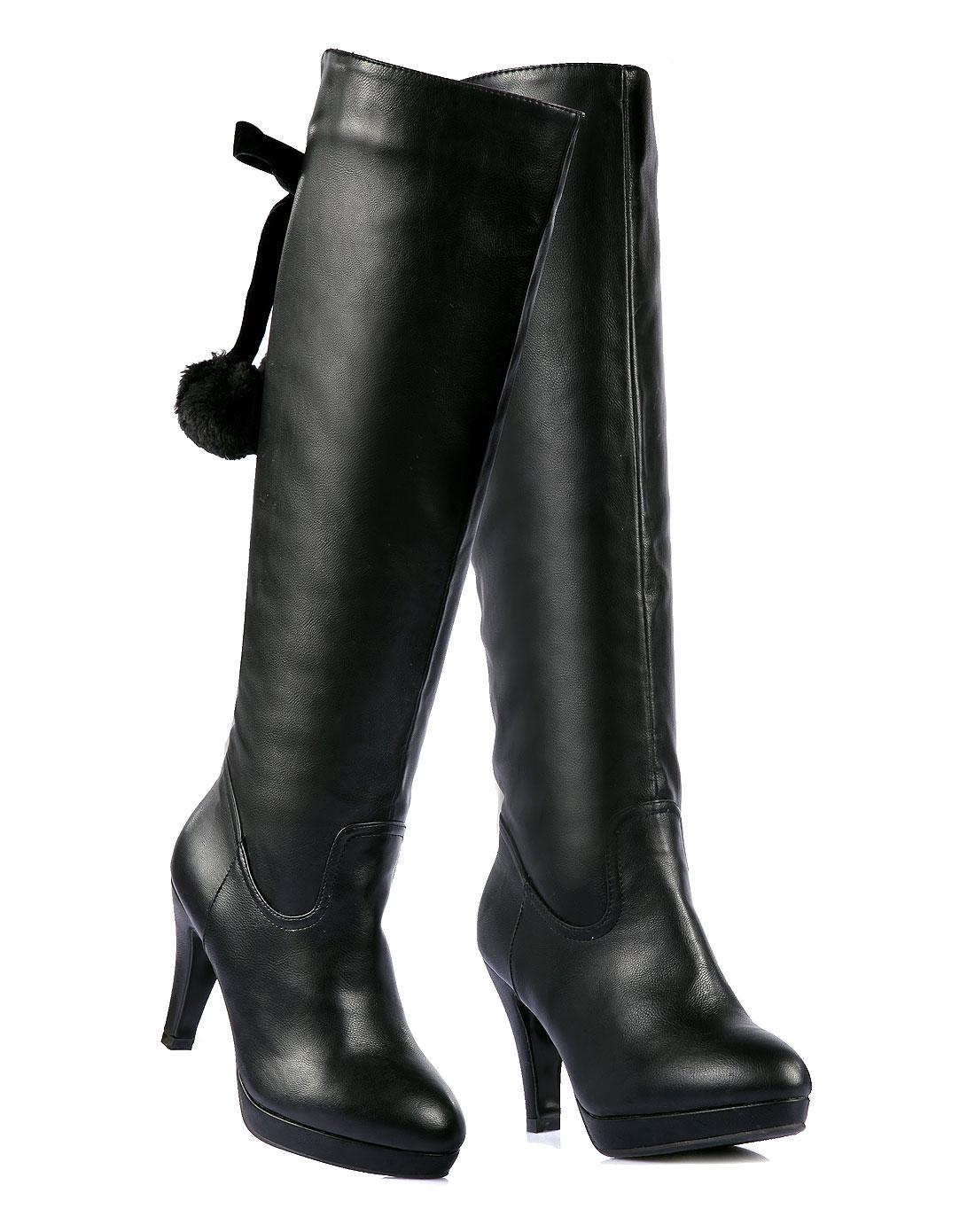 女款黑色蝴蝶结系带毛球女士过膝长靴子