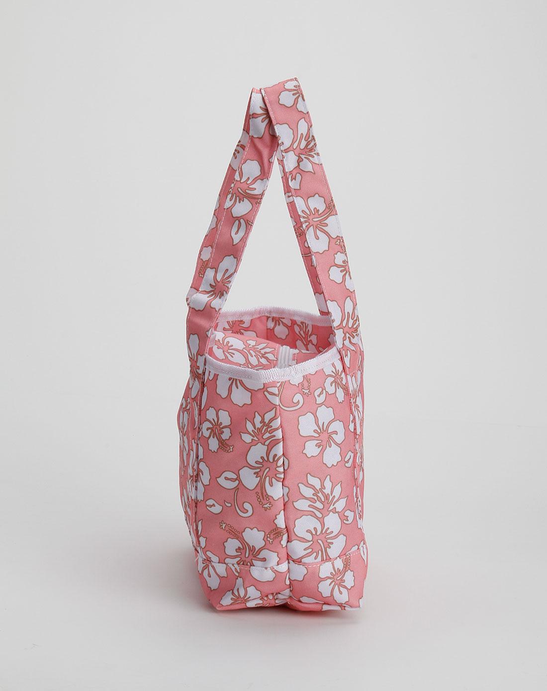 浅粉红色休闲帆布手提包