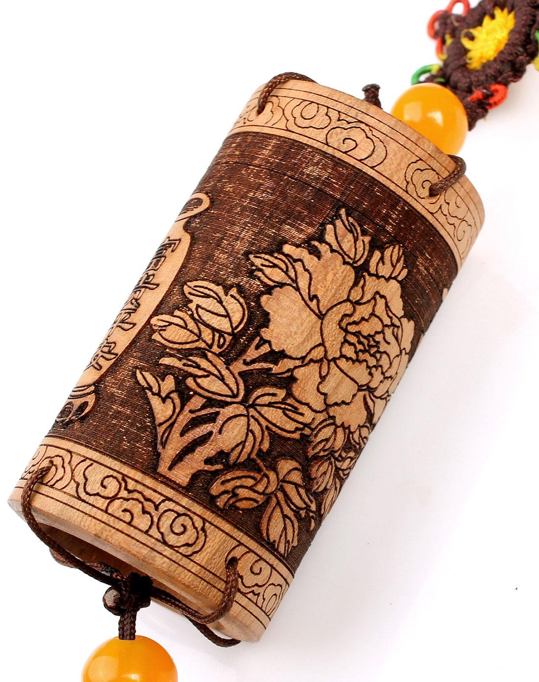 悦木之源天然桃木雕富贵平安筒车饰挂件