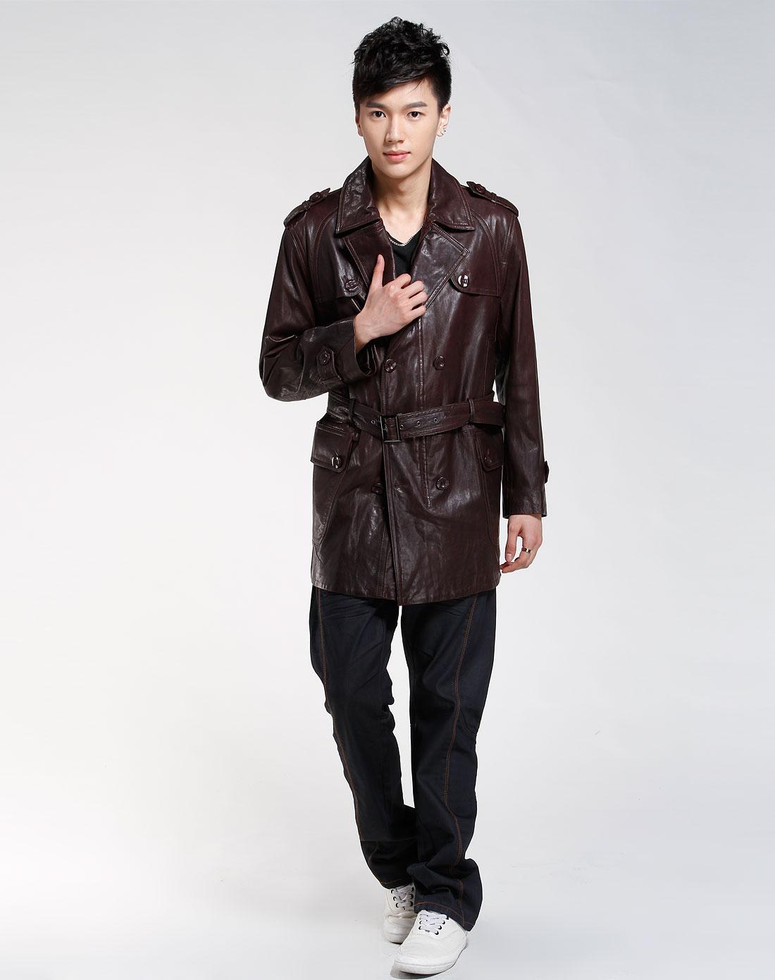 款深咖色时尚皮衣