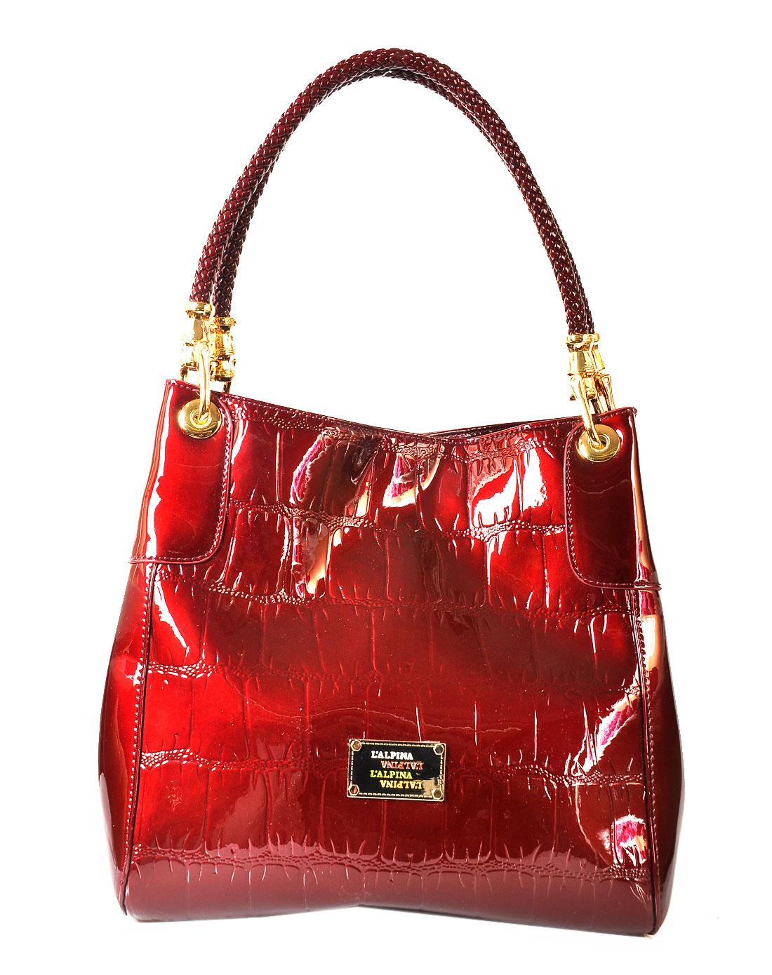 阿尔皮纳袋鼠女包女款酒红色手提包t803951122t1-38
