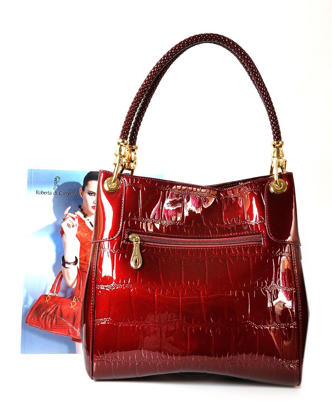 女款酒红色手提包