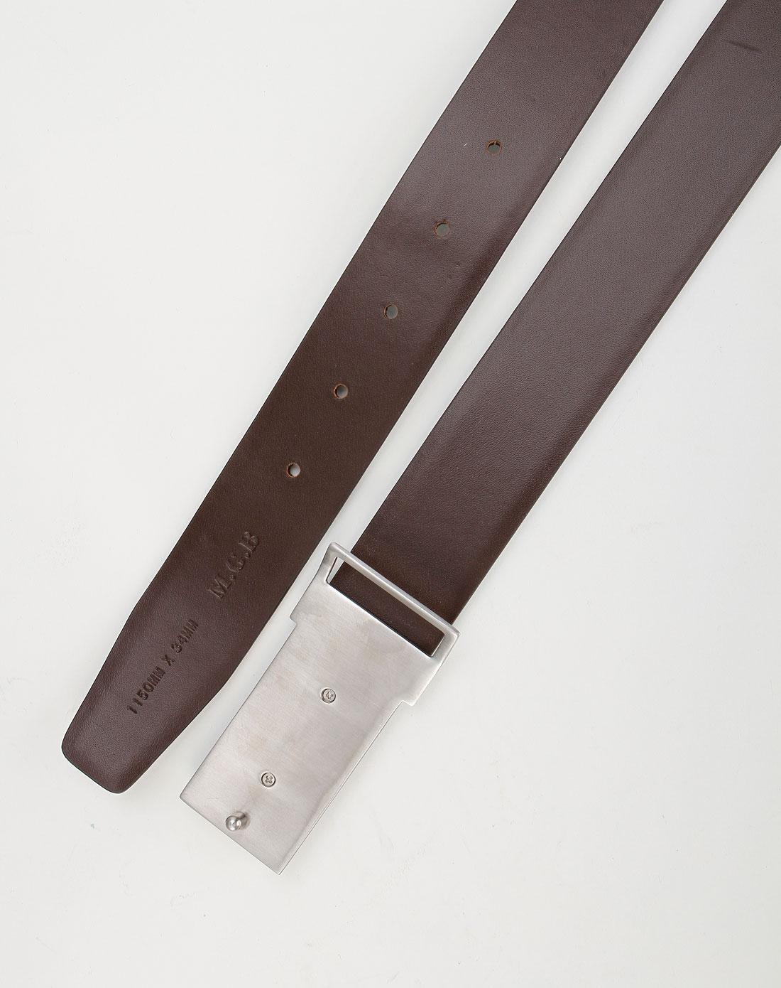 马基堡m.g.b咖啡色鳄鱼纹时尚皮带
