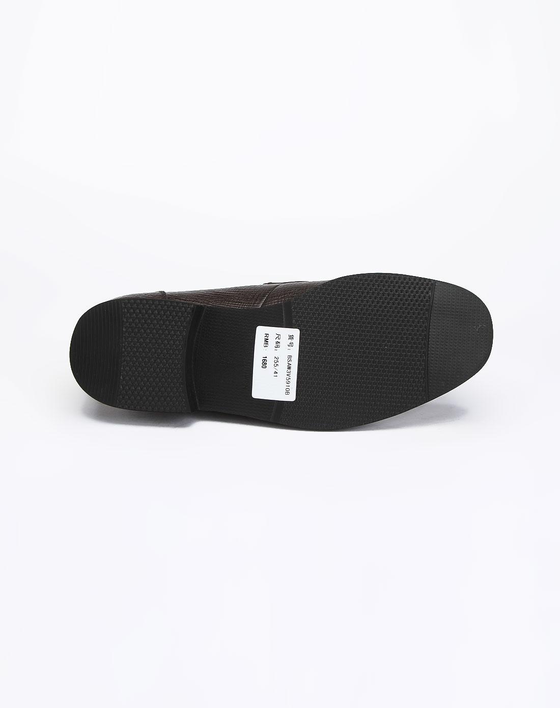 bosssunwen男装咖啡色时尚尊贵简约压纹商务皮鞋