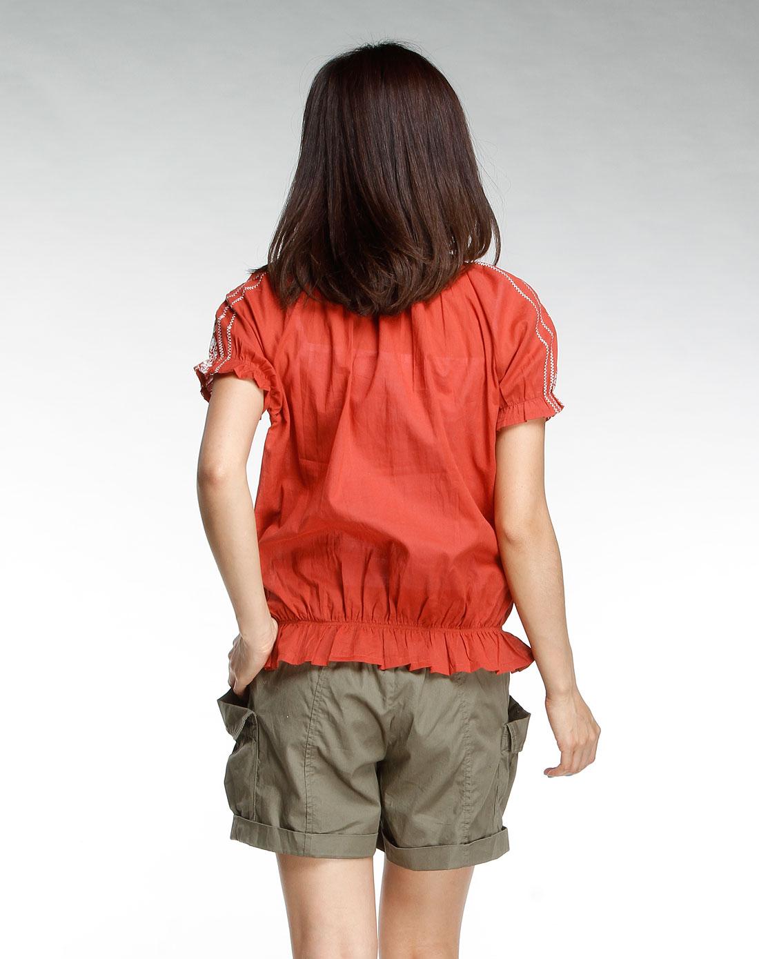 橘红色绣花短袖衬衫