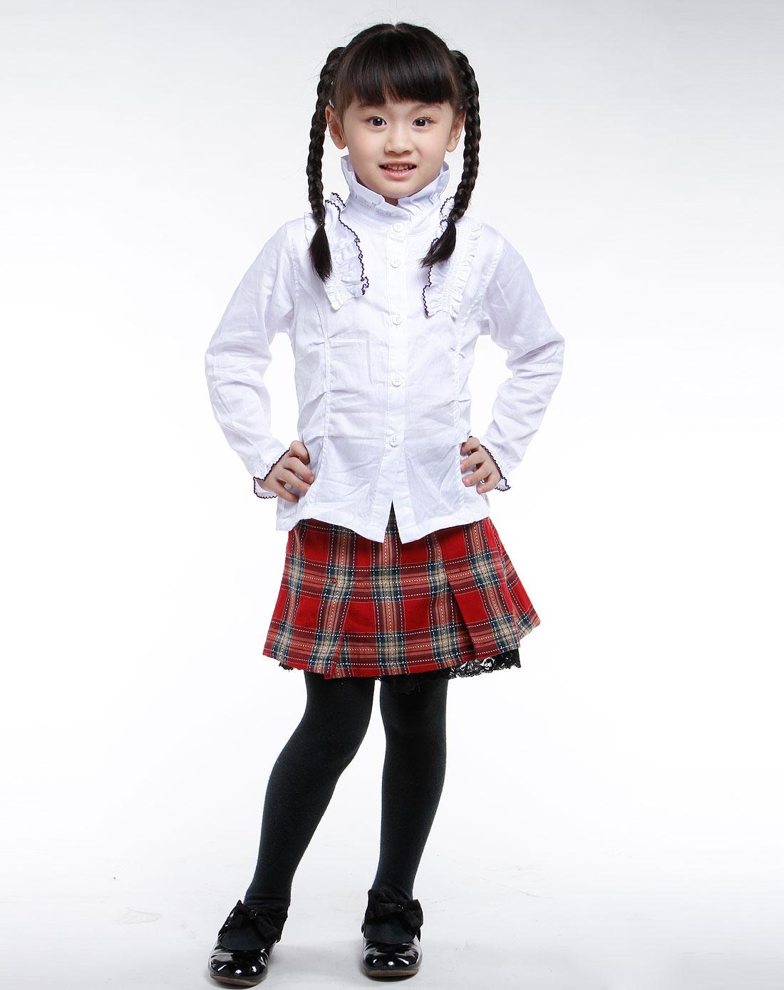 沐阳童童装女童白色时尚长袖衬衫