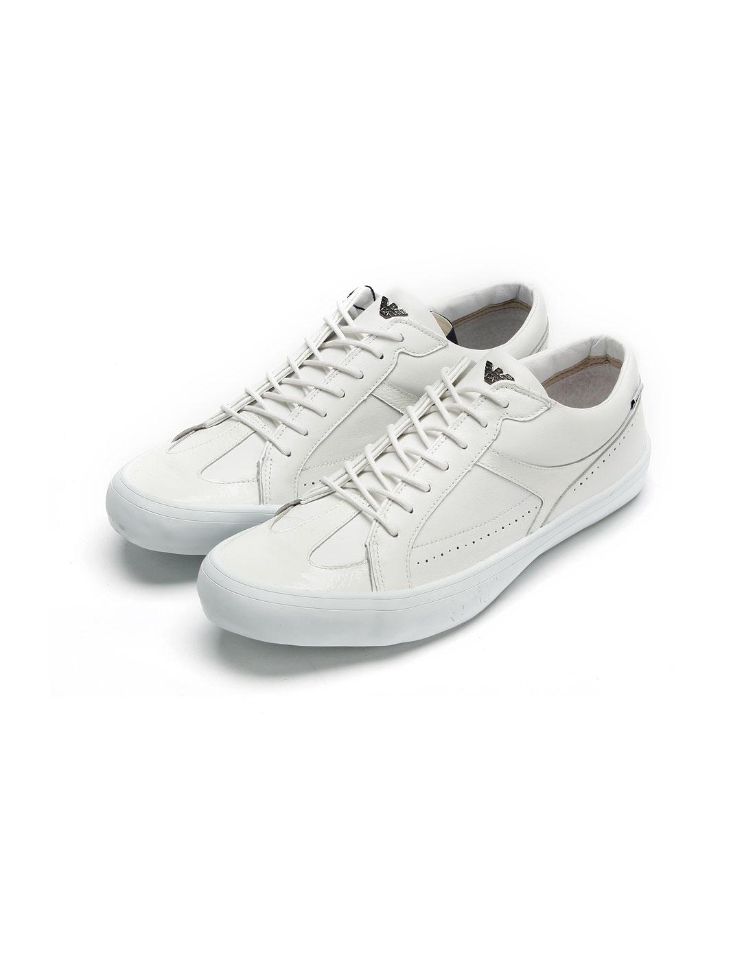 armani鞋子专场男款米白色拼皮休闲鞋n65071g