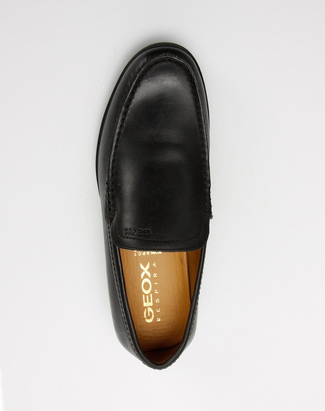 geox男款黑色平纹擦色牛皮皮鞋
