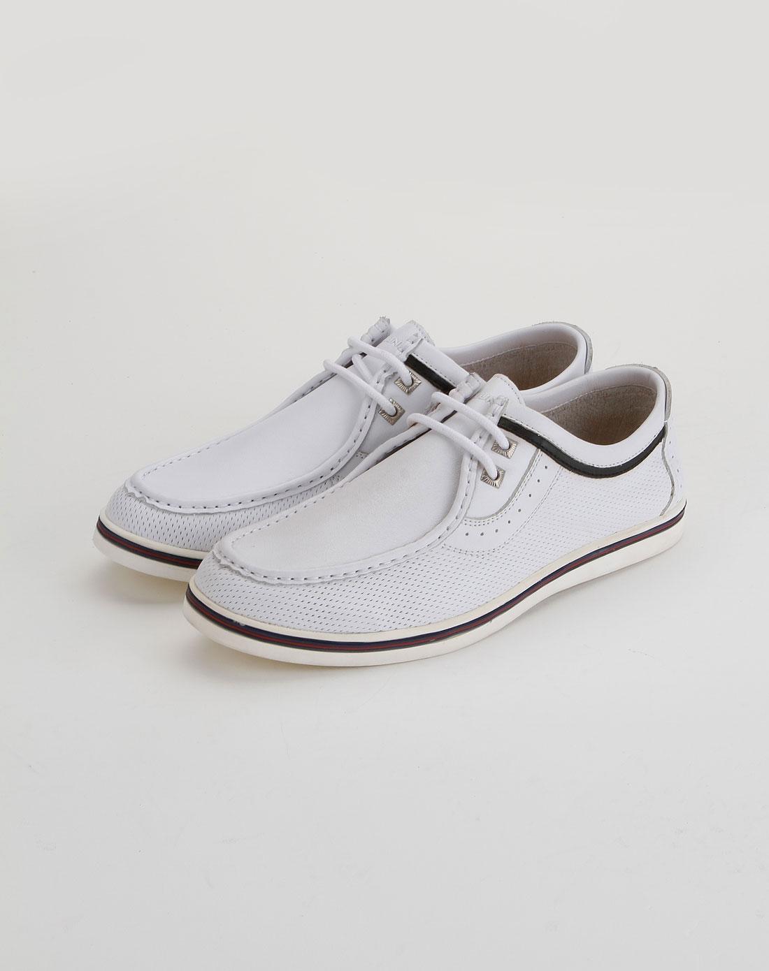 百伦bolune男款白色绑带时尚休闲皮鞋b96381012