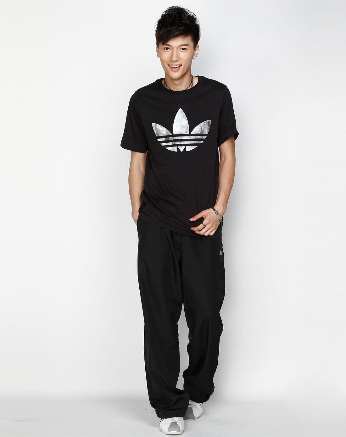 阿迪达斯adidas男装专场-三叶草 男款 黑/灰色图案短袖t恤