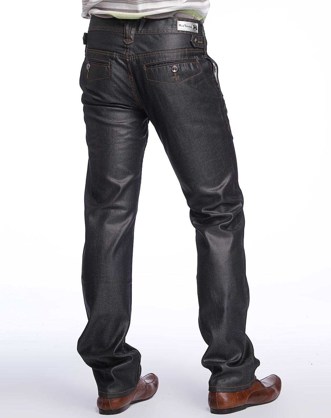 马克华菲黑色亮面牛仔长裤