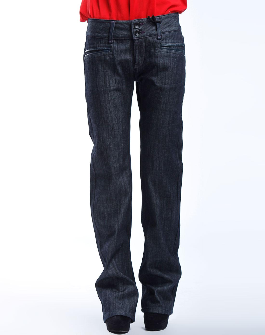 马克华菲灰黑色阔脚牛仔长裤