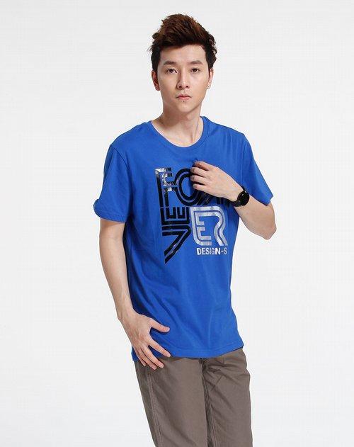 森马男装专场宝蓝色时尚印图短袖t恤图片