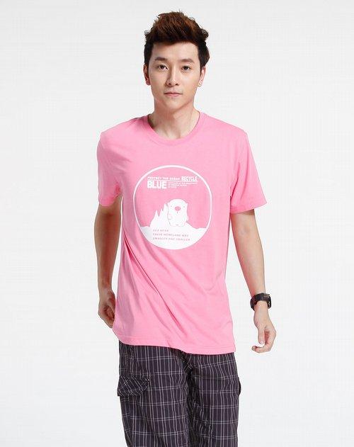 森马-男装粉红色时尚印图短袖t恤图片