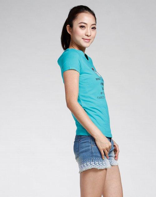 森马-女装绿色休闲短袖t恤图片