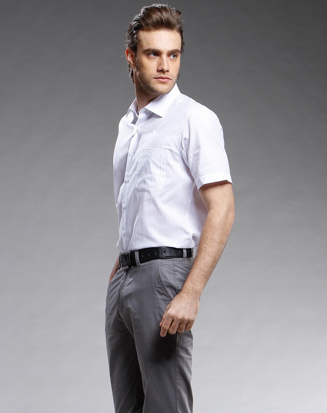 竖纹休闲短袖衬衫